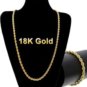 """18k Gold Plated 22"""" Rope Chain"""